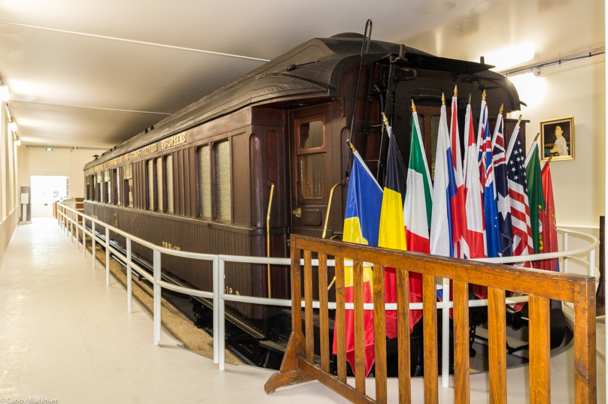 A replica of the railway carriage in which the Armistice was signed