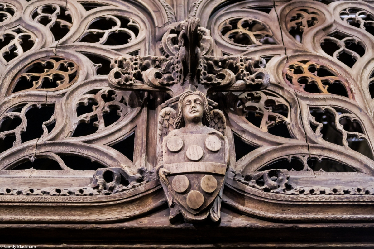 The coat of arms of Marc de Troerin on the Rood Screen, Lambader