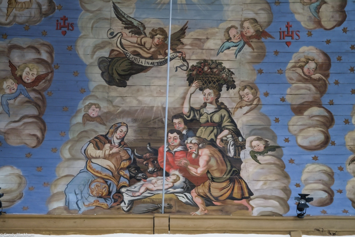 Ceiling paintings in the Church at Cleden-Poher