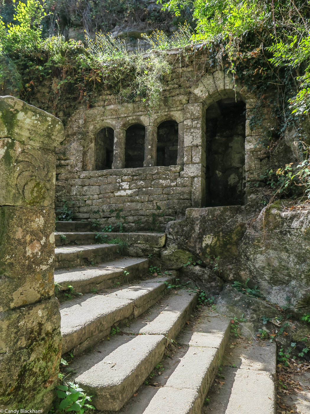 The stairs down to the Chapel