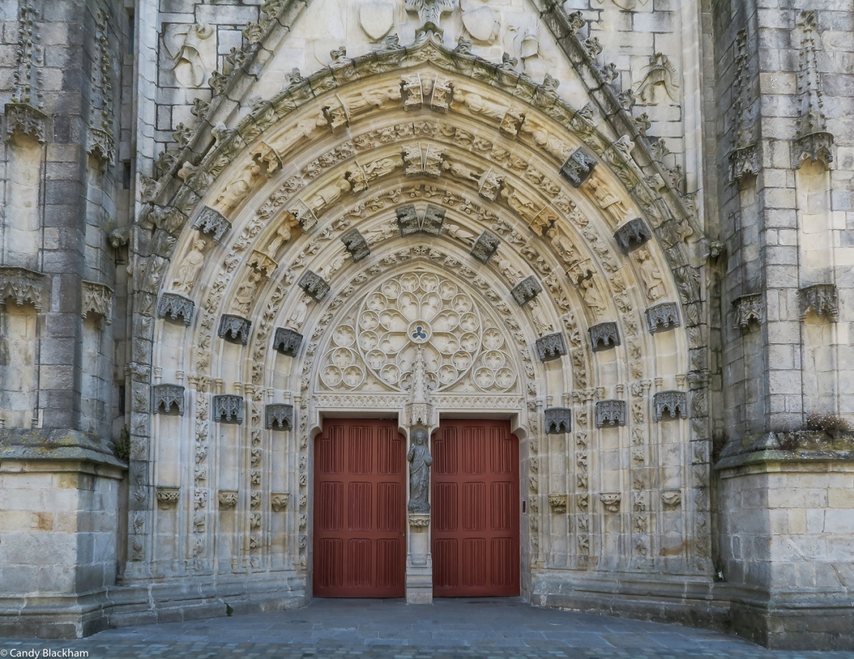 The ornate West Door of the Cathedral of St Corentin, Quimper