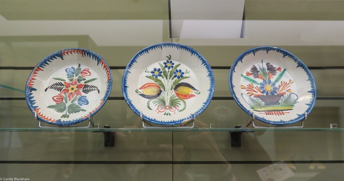 Traditional pieces of Henriot pottery, handpainted
