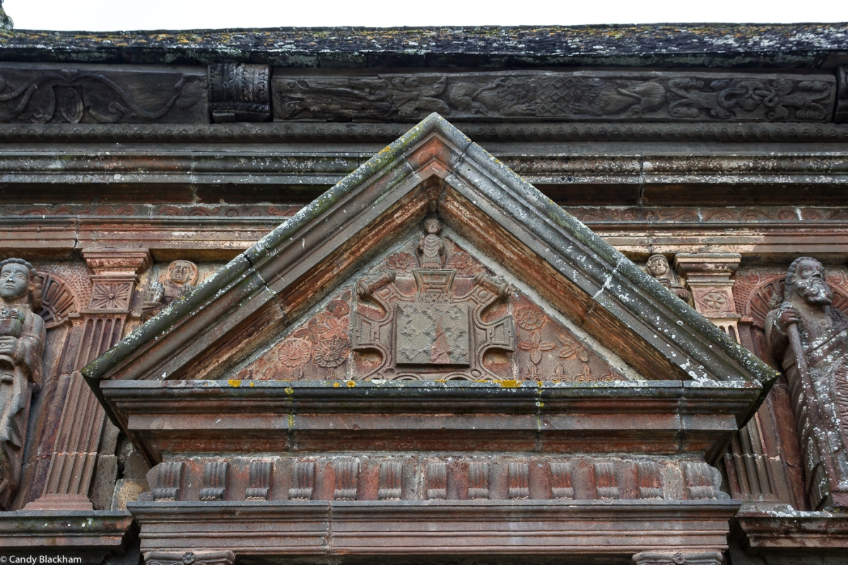 The pediment over the doorway of the Ossuary, Sizun