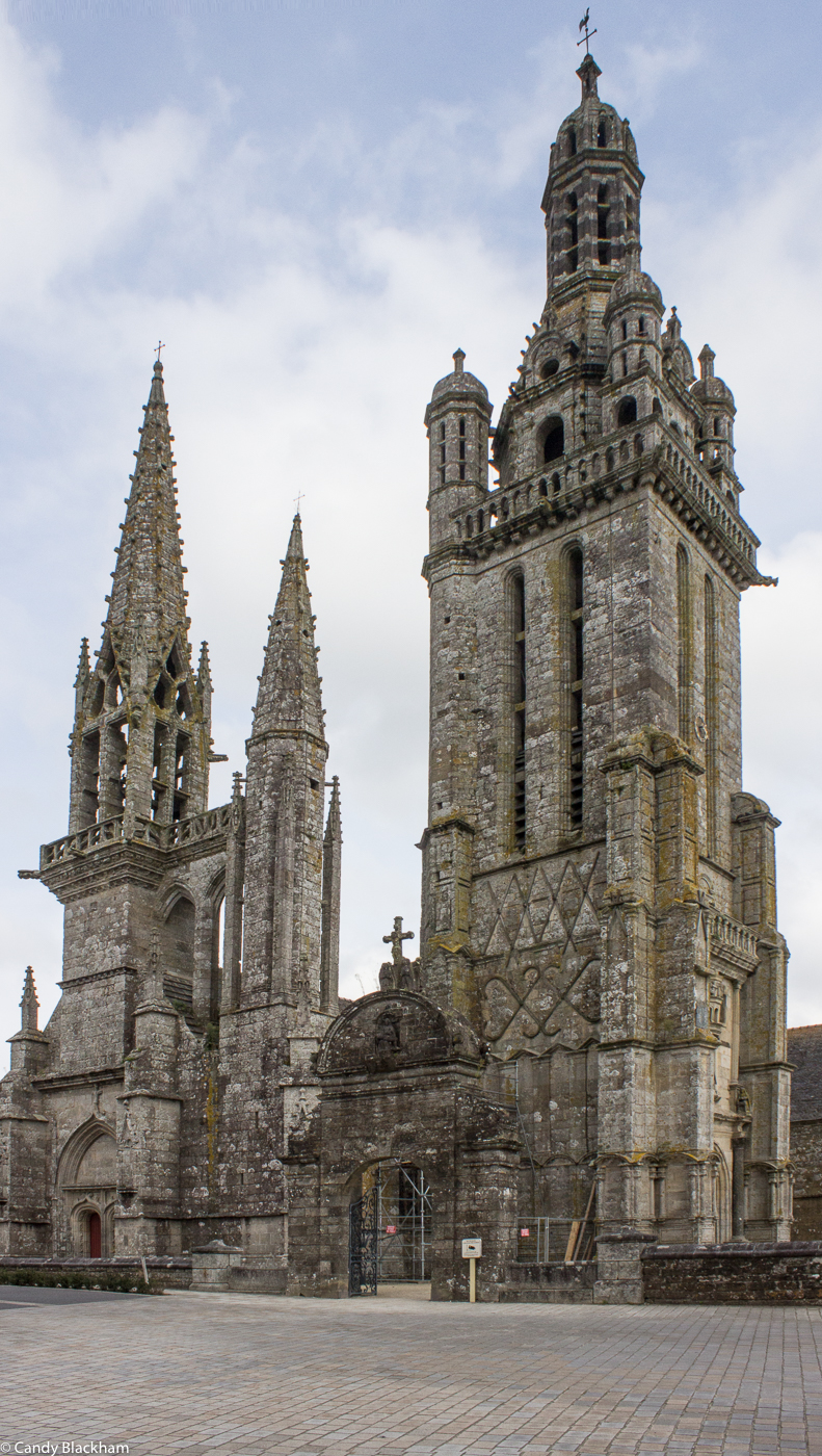 The two towers of the Church at Pleyben, with the elaborate Stair Turret between the towers
