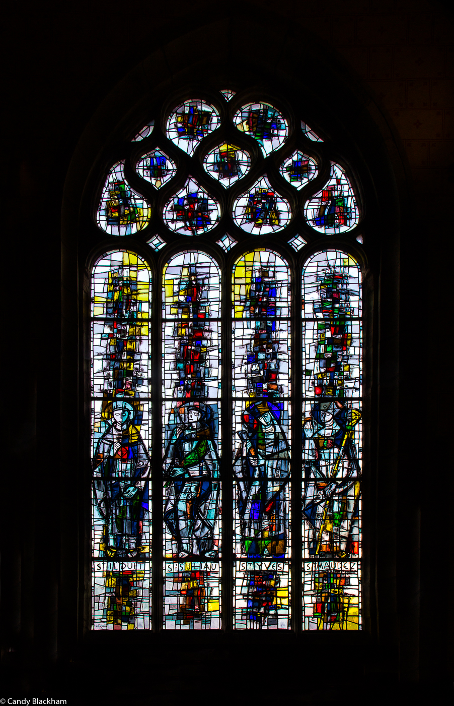 Stained glass in the Church of St Suliau, Sizun, by Jacques le Chevalier, 1976