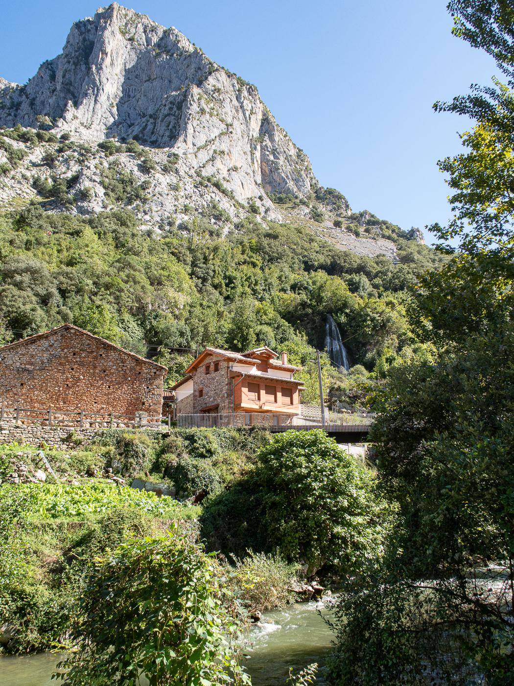 Mountain, house, river