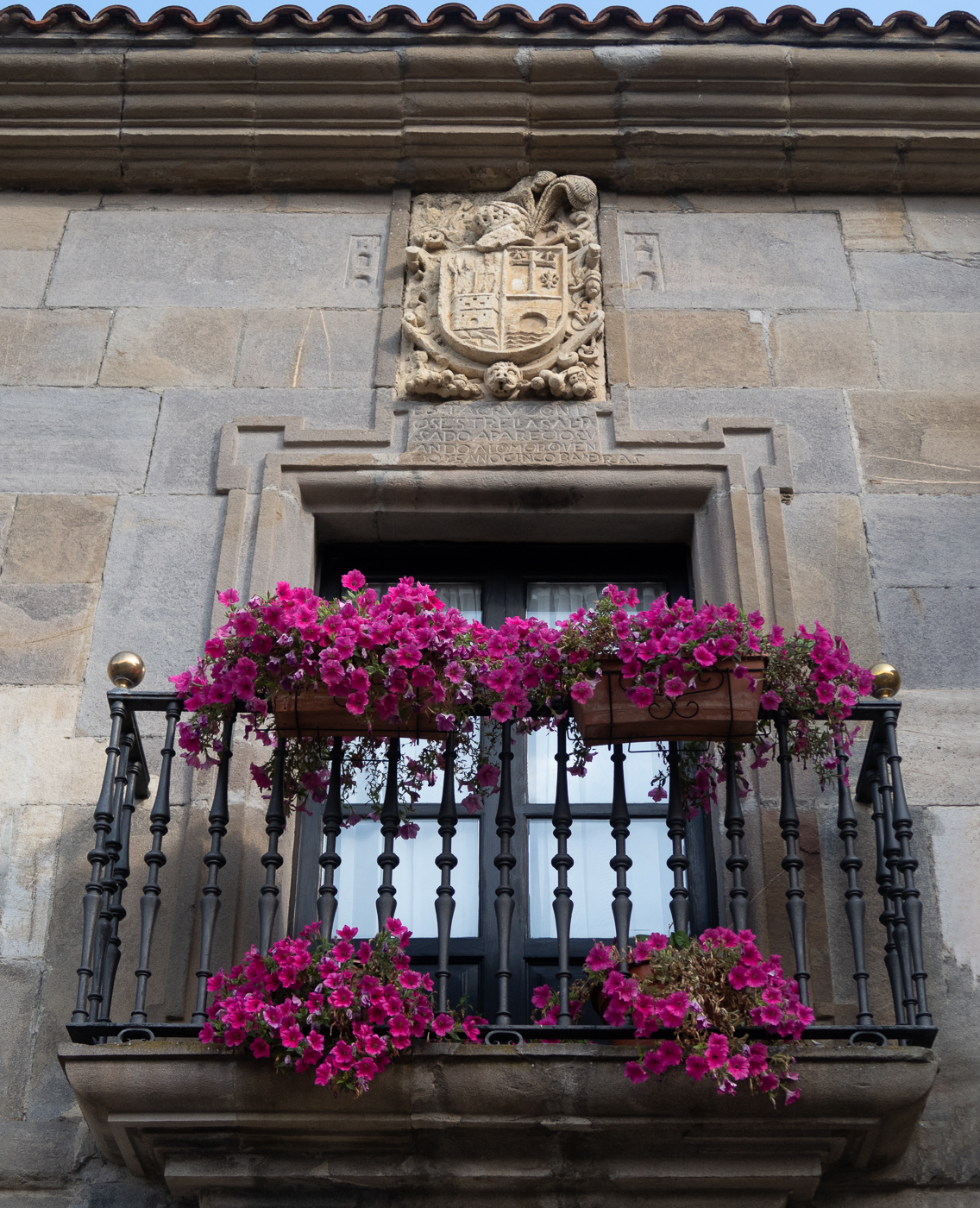 Balcony, flowers, coat of arms