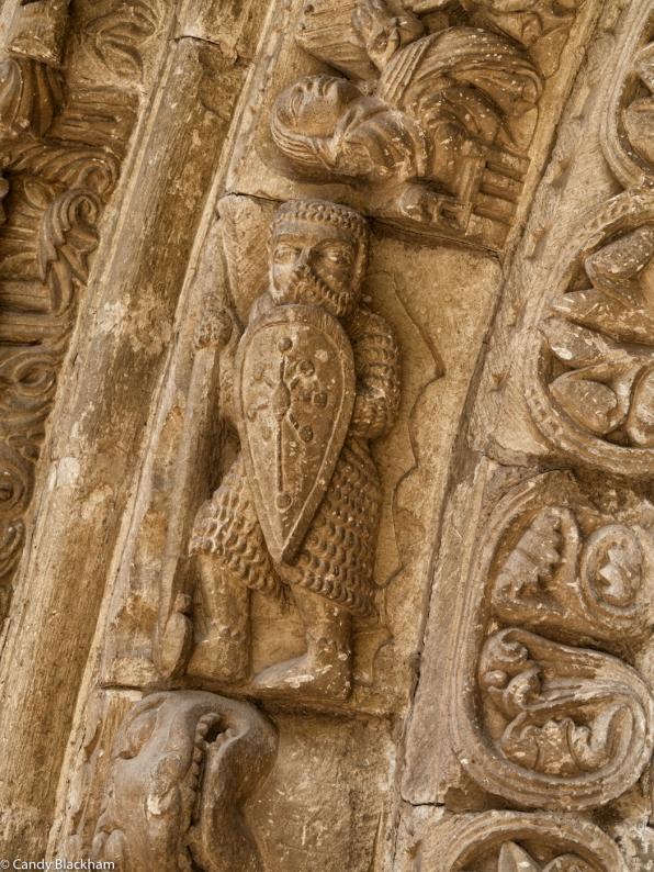 Warrior over the main doorway