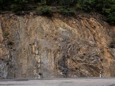 Rock formations alongside the road
