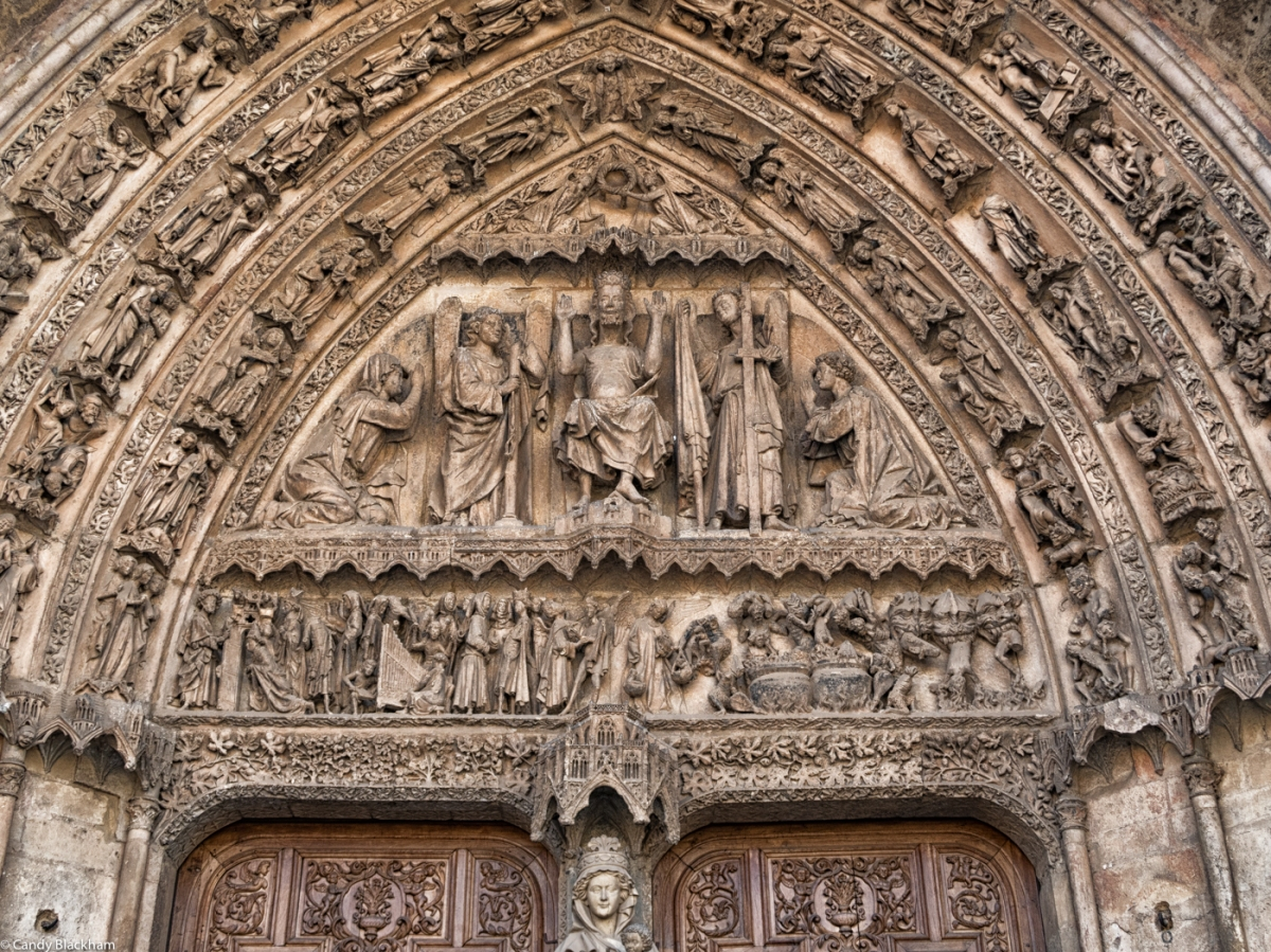 The tympanum over the main door of the Cathedral