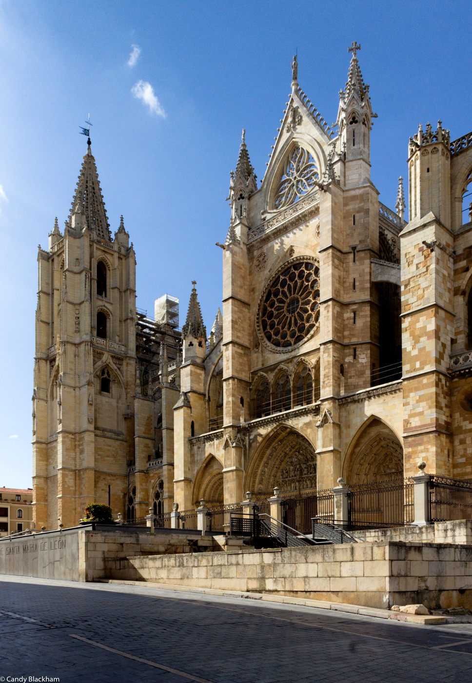 The Cathedral of Leon with the fenced entry to an underground excavation and display