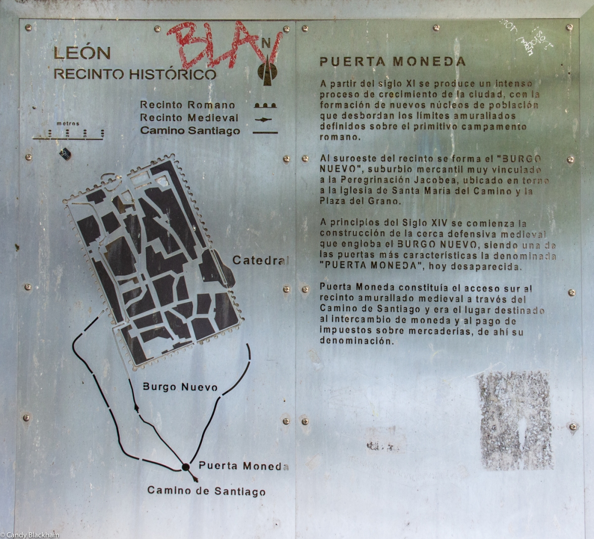 Notice board at the Puerto Moneda, showing the Roman Walls, and the later Mediaeval Walls